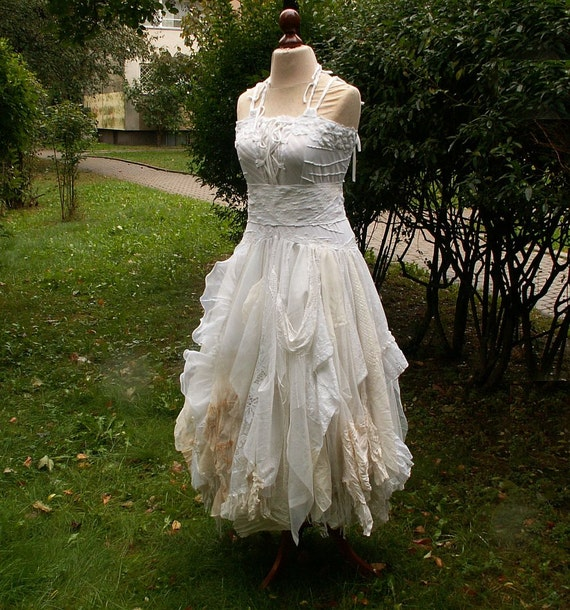Alternative upcycled wedding dress with pieces of by cutrag for Etsy dresses for weddings