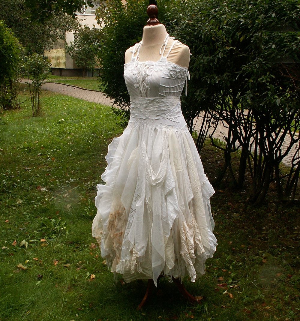 Alternative Wedding Dress S Manchester : Alternative upcycled wedding dress with pieces of by cutrag