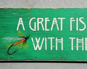 "Custom Ordered Hand-painted Sign ""A Great Fisherman Lives Here"""