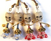 Skull Glow in the Dark Jewelry, dia de los muertos, day of the dead, Resistor Electronic, Red or Blue Skirt Zombee Dancer Earrings