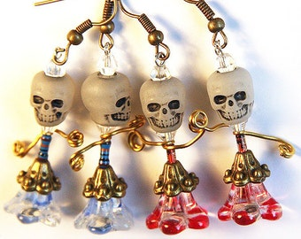 Summer Party Skull Glow in the Dark Jewelry dia de los muertos day of the dead Resistor Electronic Red or Blue Skirt Zombee Dancer Earrings