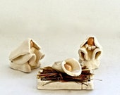 Small White Hand Formed Pottery Nativity Set - White Nativity Set