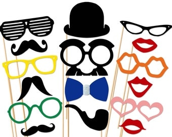 Handsome Photo Booth Props 16 Piece Set - Wedding Party Photo Booth Props