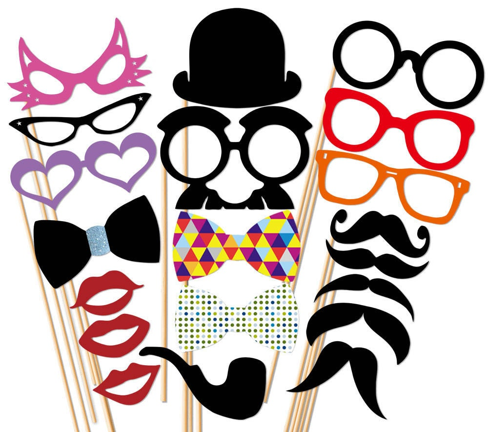 Photo Booth Props 20 Piece Set On A Stick Wedding Party