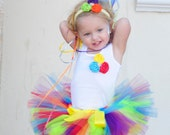 Rainbow Tutu Set, Birthday Tutu, NB-24M
