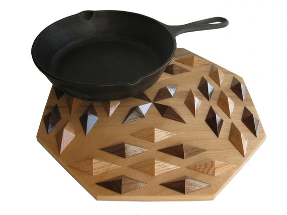 Geometric Wood Hot Pad.  Home decor kitchen trivet or table centerpiece.