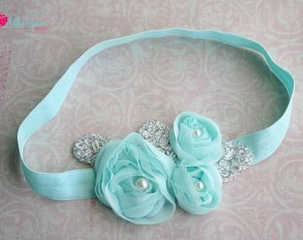 Mini Aqua Flower Applique Headband-Newborn/Infant/Toddler/Adult- Photo Prop