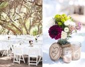 TREASURY ITEM - 10 Woodburned Tree slices - Wood tree slices - Personalized wedding decor - Wedding centerpiece - Chair ties
