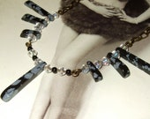 Art Deco Style, Gatsby Necklace, Snowflake Jasper, Bead Wings, Graduated Collar, Elegant Bead Jewelry, Great Gatsby Style, Black and Grey,