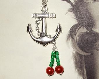 Rockabilly Necklace, Anchor Pendant, Cherry Necklace, Tattoo Style, Rockabilly Jewelry, Anchor Necklace, Bead Cherries, Red Cherry Necklace