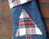 Christmas Stocking Upcycled Denim and Flannel Tree Design