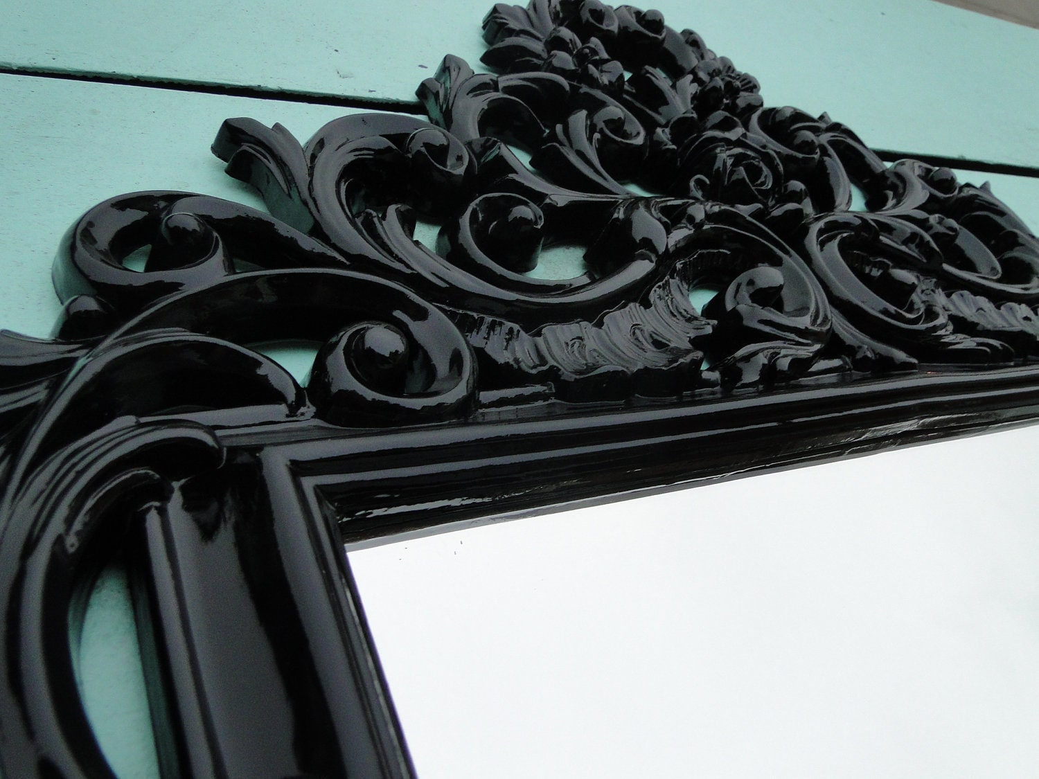 Large Ornate Vintage Gothic Mirror Wall Mirror Glossy Black