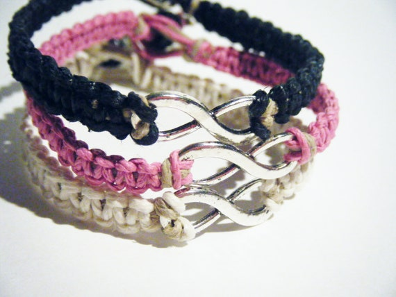 Friendship Bracelets Silver Infinity Macrame Bracelets Pink Black & White MADE TO ORDER-2 Week production time