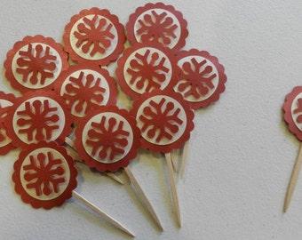 Red Metallic Snowflake Cupcake Toppers Christmas