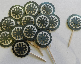 Green Metallic Snowflake Cupcake Toppers Christmas