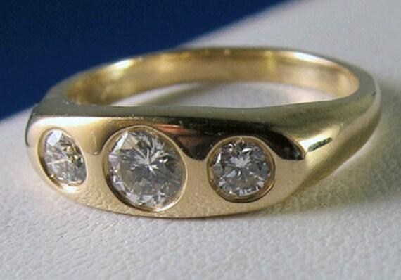 HOLDING -- Beautiful Estate 14k 3 Diamond Gypsy Mount Ring  Band - Past Present Future