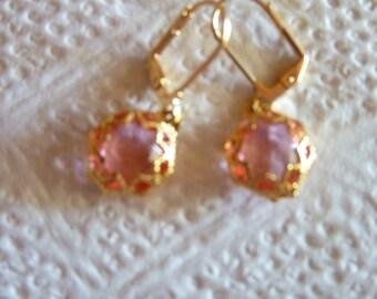 Pink rhinestone in gold filigree earrings