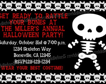 Skeleton Halloween Invitation Print Your Own 5x7 or 4x6