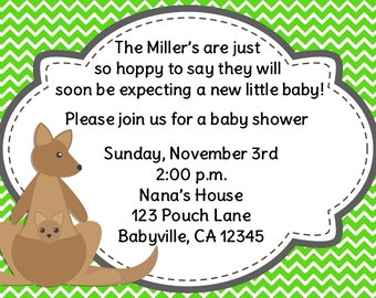 Kangaroo Chevron Baby Shower Invitation Choose your own color Print Your Own 5x7 or 4x6
