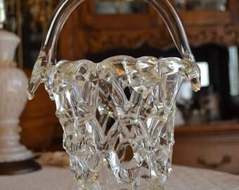 Vintage Openworked Glass Basket