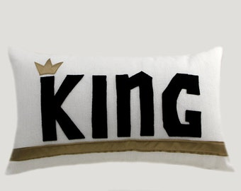 """Decorative pillow case, White decorative designer fabric Lumbar pillow case with a black color word King accent, fits 12"""" x 20"""" insert"""