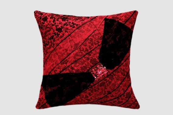Decorative Pillow case Red and Black Embellished Decorative