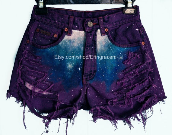 Custom purple distressed galaxy shorts(read description before asking questions)on sale