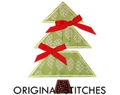 Rouched Christmas Tree Applique and Embroidery Digital Design File 4x4 5x7 6x10