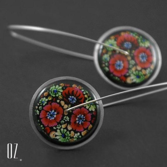 Circles Poppy - earrings