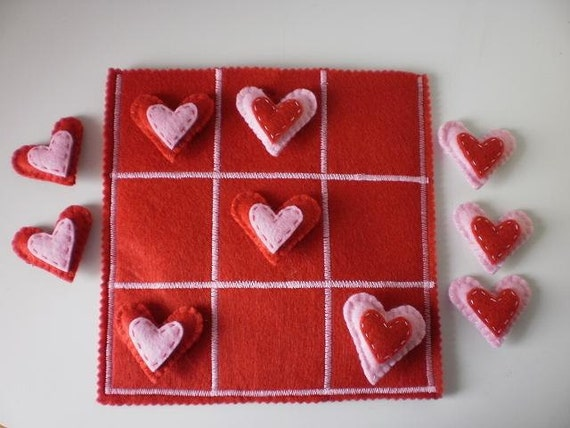 Hearts Tic Tac Toe Game Set - Kids Valentine gift - Ready to Ship