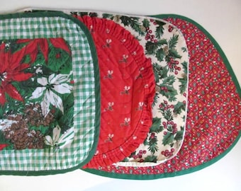Vintage Christmas Cloth Placemats, Set of Seven Assorted Holiday Place mats
