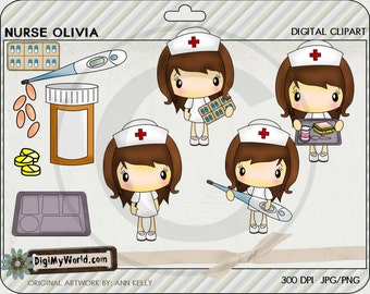 Nurses with pills, food tray, thermometer for medical and hospital colored clip art for card making and scrapbooking