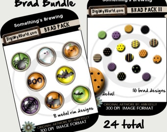 Halloween Colored inspired Brads high resolution clipart images for digital scrapbooking and card making