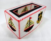 Large Knit White Tissue Box Slip Cover With Sailing Ship And Anchor Vintage 1980's
