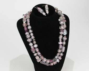 Vintage Necklace and Earring Set - Crystal and Lucite Beads in Pinks, Greys, Silvers and Black from Mindscape Gallery circa 1970s