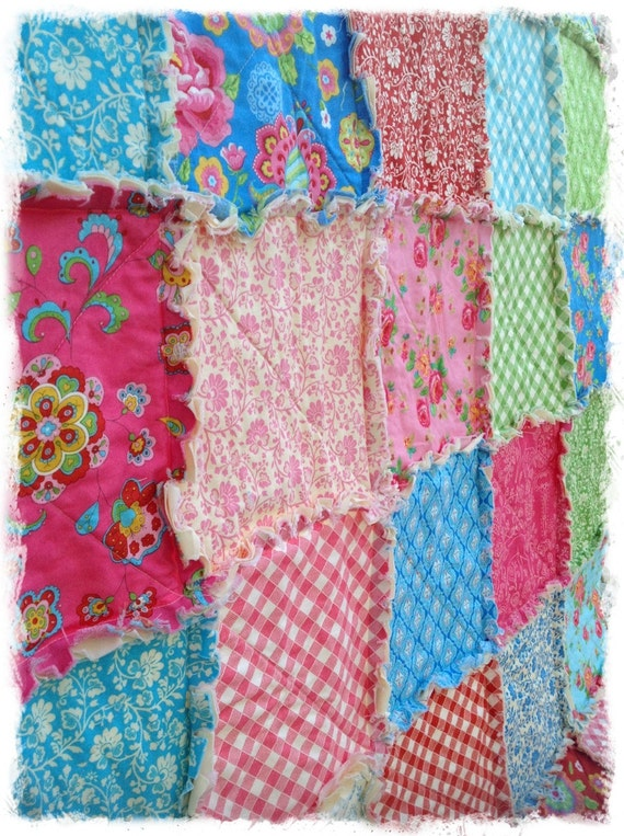 Items similar to Rag Quilt - Queen Size - Gypsy Girl by Lily Ashbury Pink Green Red Modern ...