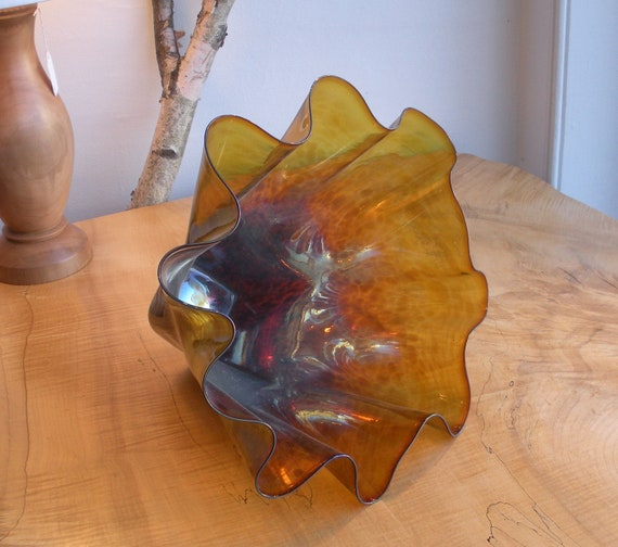 Hand Blown Glass Bowl - Gold Luster Tortoise Shell Bowl Form by Jonathan Winfisky
