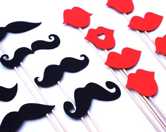 Mustaches and Red Lips on a Stick - Set of 16 - Birthdays, Weddings, Parties - Photo Booth Props