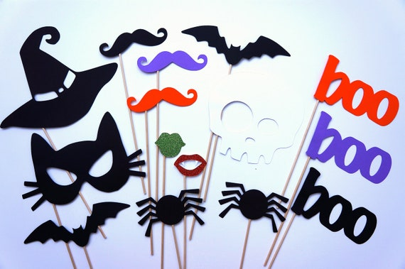 Photo Booth Props - Halloween Party Props - 15 piece set - GLITTER  Photobooth Props Party