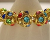 5 European Charm Bracelet Beads, Gold w/ muti-color jewels, - Euro