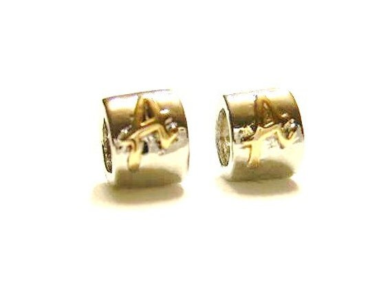 """Letter 'A""""  Pandora Style Tube Beads"""