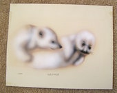 Signed art print MICHAEL J O'NEILL 164/450 baby seal and polar bear