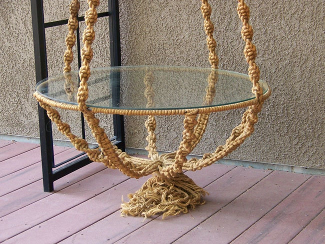 Hippie Macrame Table Hanging Plant Stand With Glass Top Over 8