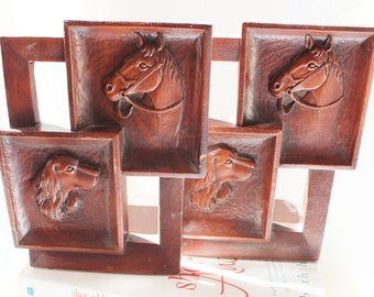 Vintage Syroco Wood Bookends Pair of Horse and Dog