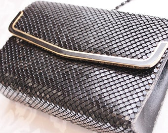 Black Handbag Purse Vintage Metal Mesh Clutch