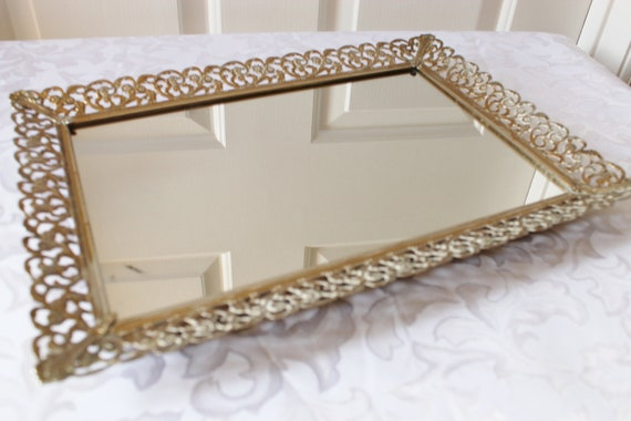 Vintage Gold Vanity Mirror Perfume Tray Metal Filigree Rectangle