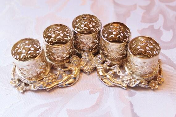 Vintage Filigree Lipstick Holder, Gold Cupid Cherub Angels