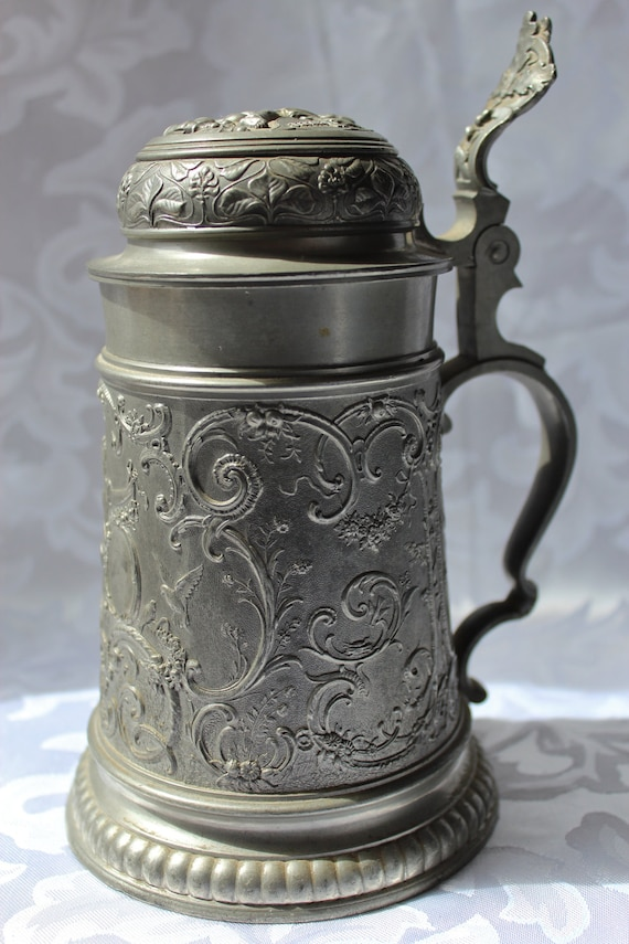 Antique German Pewter Beer Stein