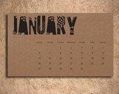 Small Desk Calendar - Black and Kraft
