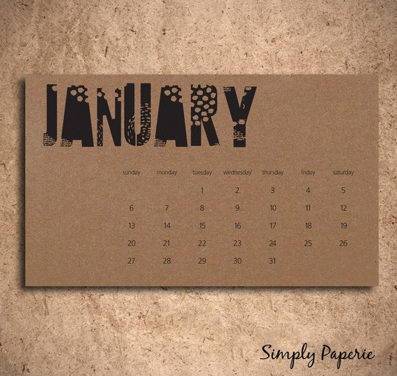 Items similar to Small Desk Calendar Black and Kraft on Etsy